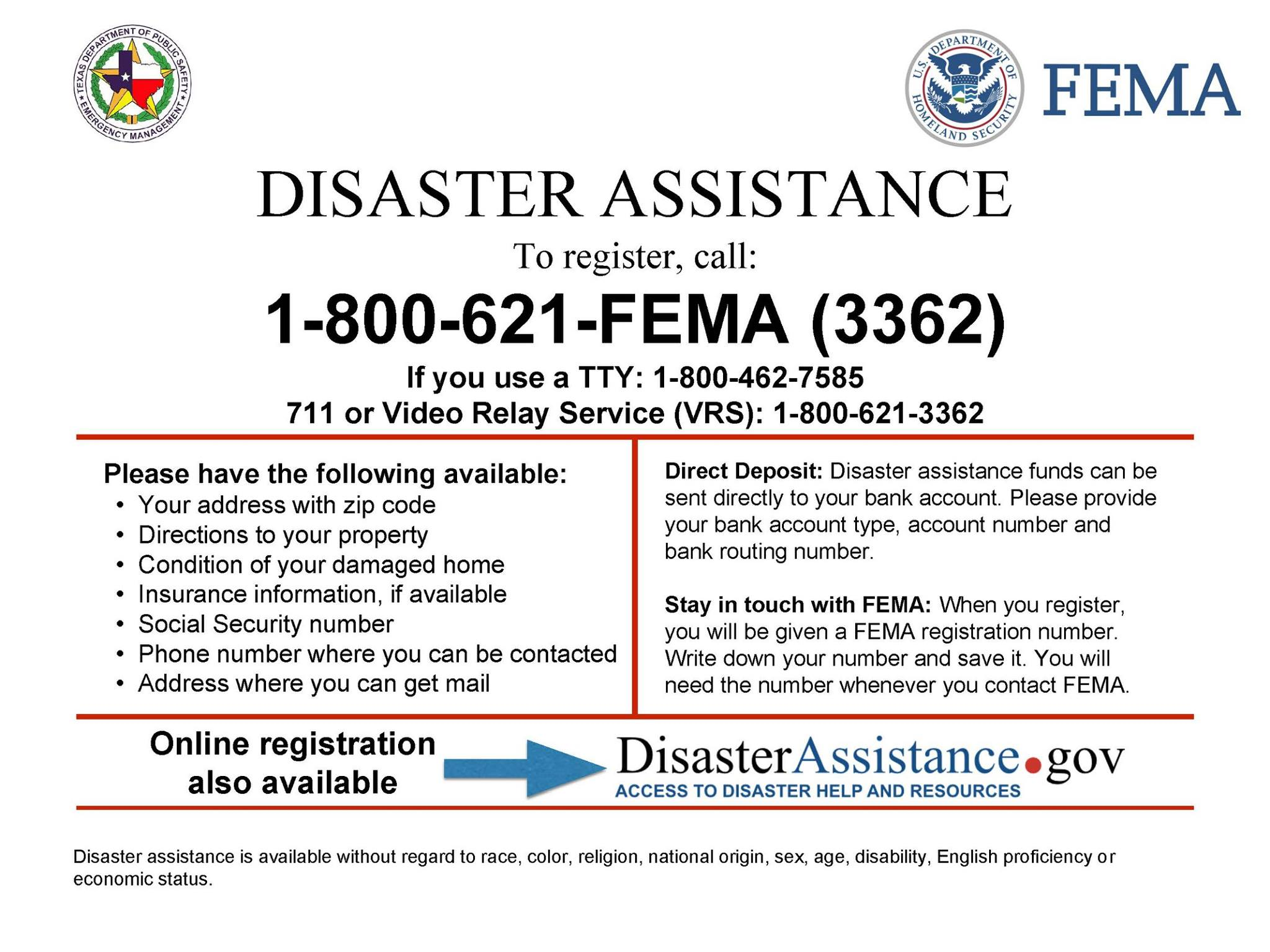 FEMA Disaser assistance